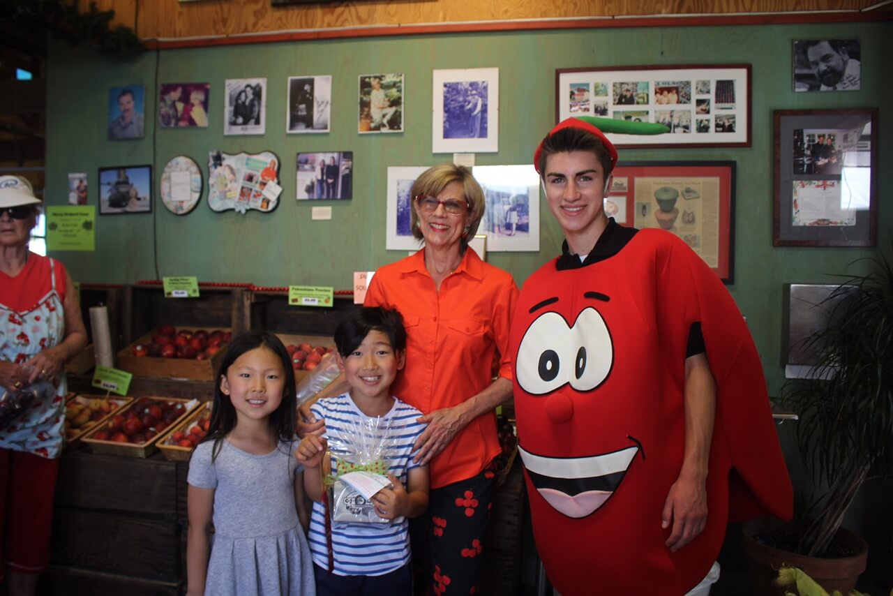 Deborah and Our Cherry Mascot with the Winners – Fun for All Ages